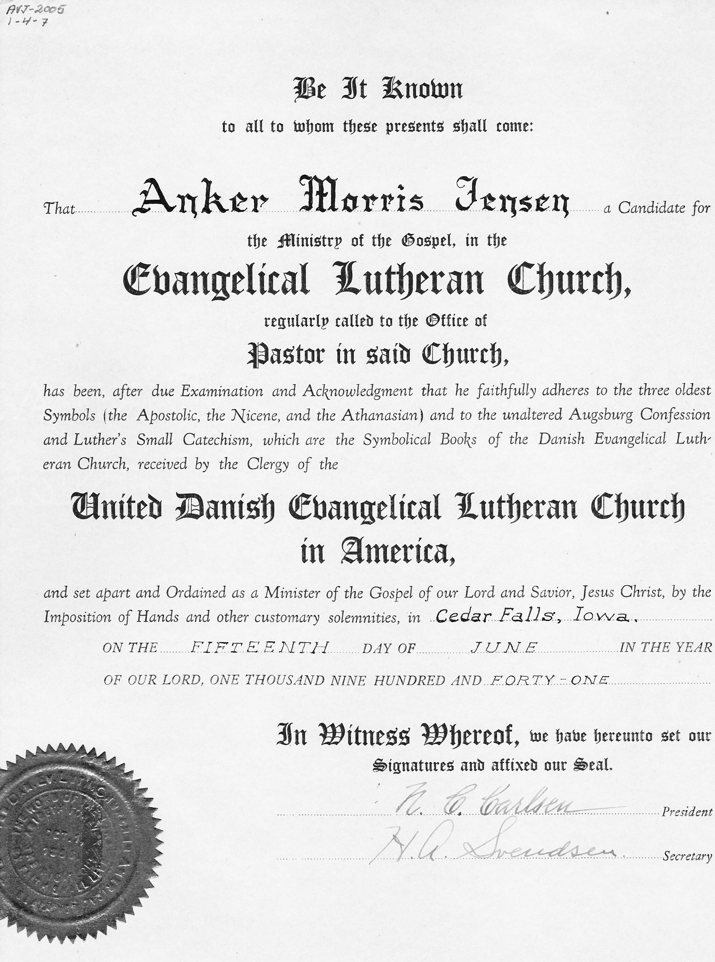 Anker and vita jensen the danish american archive and library ordination sermon notes 1betcityfo Image collections