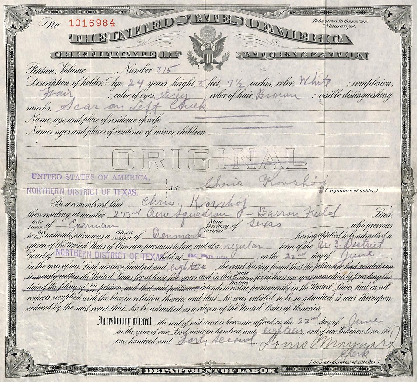 CKNaturalization Certificate